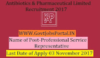 Karnataka Antibiotics & Pharmaceuticals Limited Recruitment 2017– Professional Service Representatives