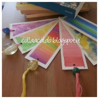 Segnalibro colorati cartone riciclato tutorial colla a caldo