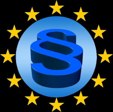 EU:n tähtiympyrä, keskellä pykälämerkki.