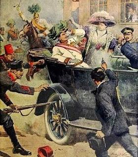暗殺場面を描いた新聞挿絵 1914年7月12日付