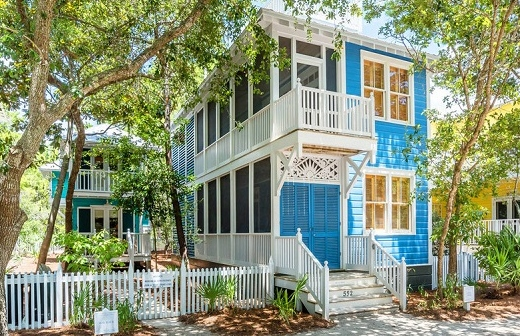 Blue Painted Houses Seaside Florida