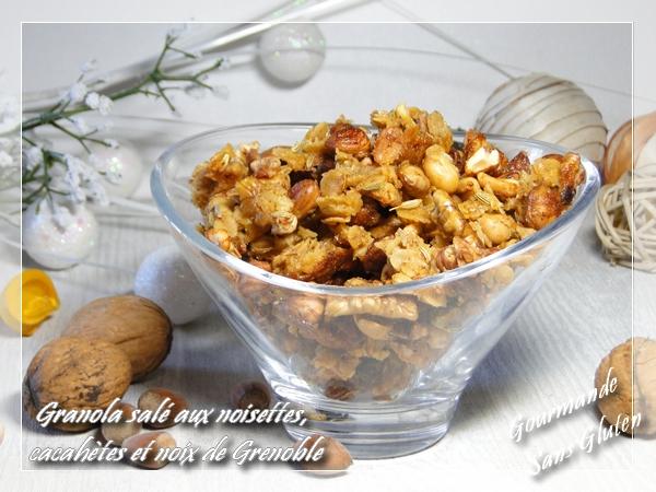 Granola salé aux noisettes, cacahuètes et noix de Grenoble