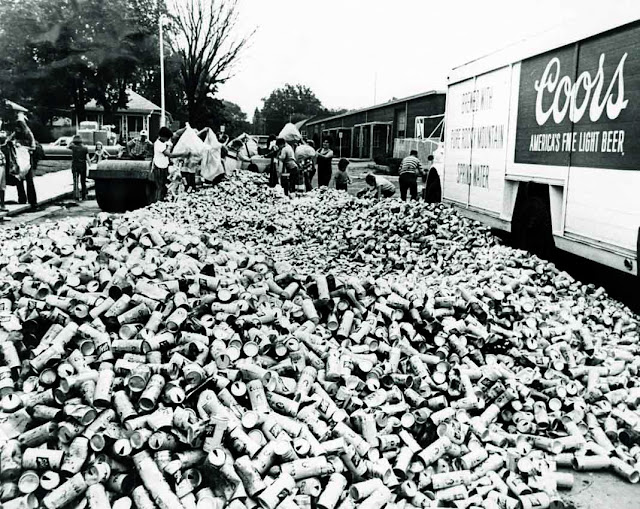 Coors - aluminium beer cans collected for recycling