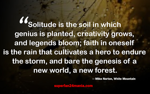 Solitude is the soil in which genius is planted, creativity grows, and legends bloom; faith in oneself is the rain that cultivates a hero to endure the storm, and bare the genesis of a new world, a new forest.