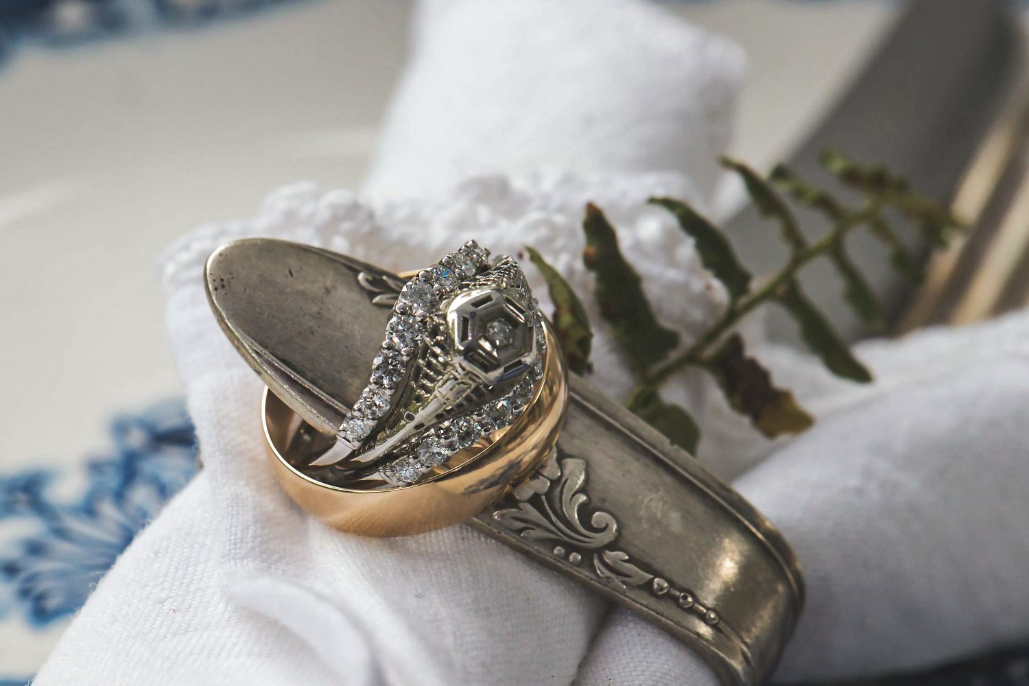a close up picture o antique, gothic engagement ring