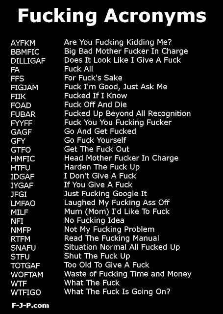 Funny fuck acronym collection list picture
