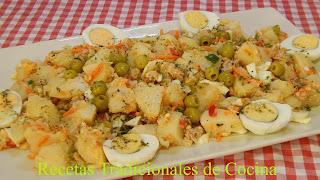 Receta de ensalada de papas mediterránea muy fácil, sana, económica y muy sabrosa