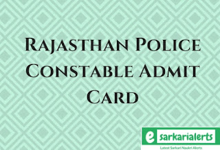 Rajasthan Police Constable Admit Card 2017