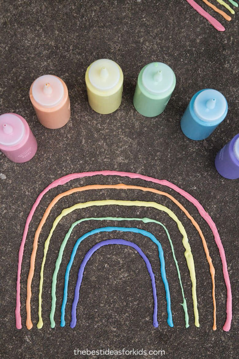 outdoor activities for kids - puffy sidewalk paint