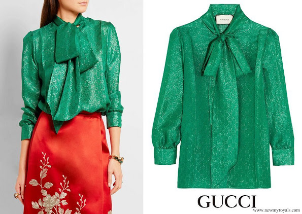 Queen Mathilde wore GUCCI Pussy-bow metallic silk-blend jacquard blouse