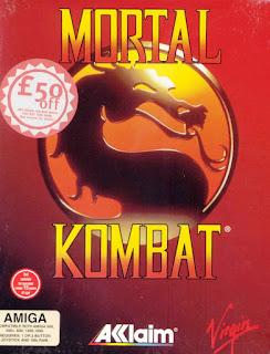 Portada de la caja con los 2 discos de Mortal Kombat para Commodore Amiga, Acclaim, Virgin, 1993