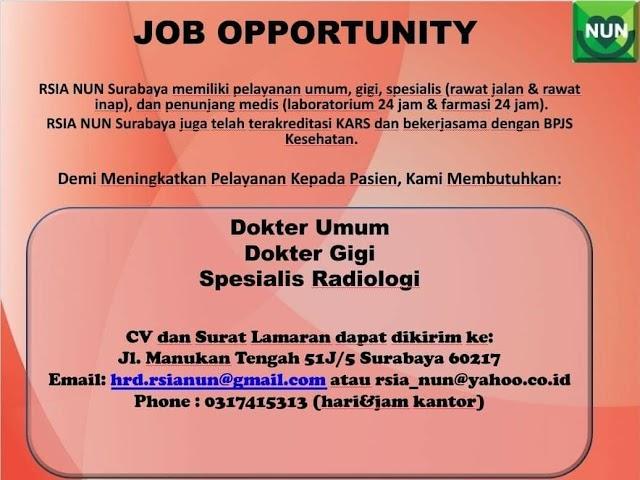 Loker Dokter RSIA NUN Surabaya