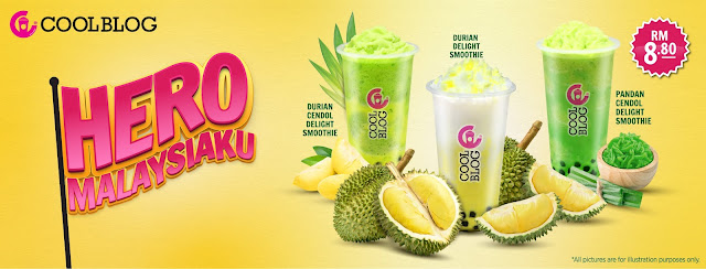 Coolblog Memperkenal Minuman Smoothie Perisa Tempatan, Durian, Pandan dan Cendol Sempena Kempen Hero Malaysiaku!
