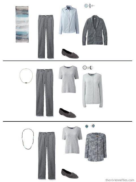 three ways to wear grey herringbone pants with a work capsule wardrobe