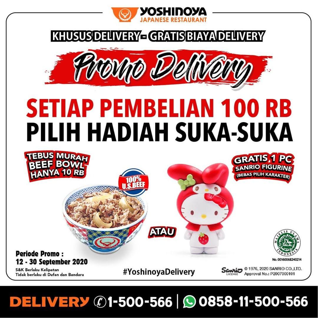 Yoshinoya Promo Delivery Tebus Murah Beef Bowl Cuma 10Rb atau Gratis 1 Pcs Sanrio Figurine