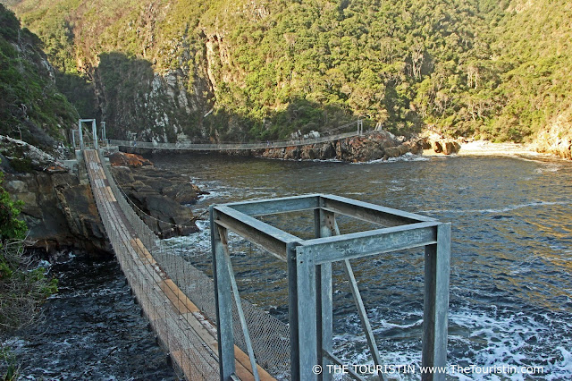 Two wooden suspension bridges over the ocean in the Tsitsikamma National Park in South Africa.