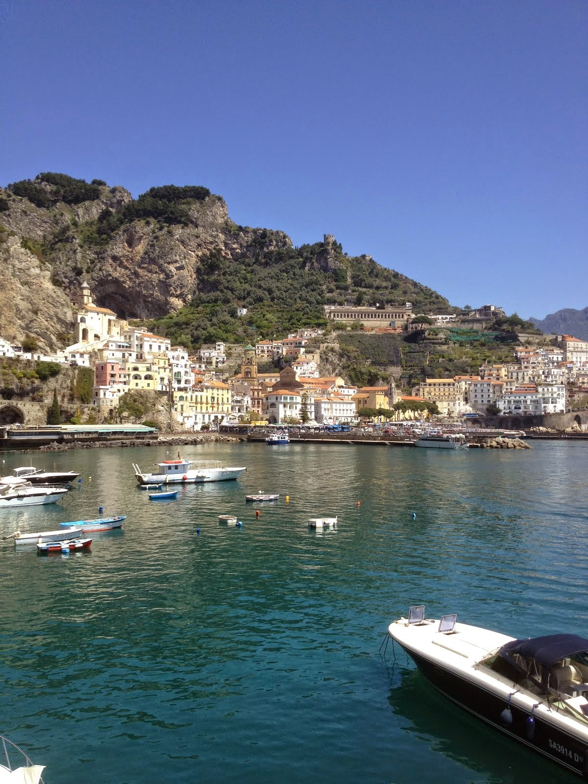 View of Amalfi from our boat