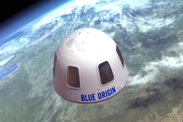 Cápsula da New Shepard enquanto faz seu voo suborbital - Blue Origin