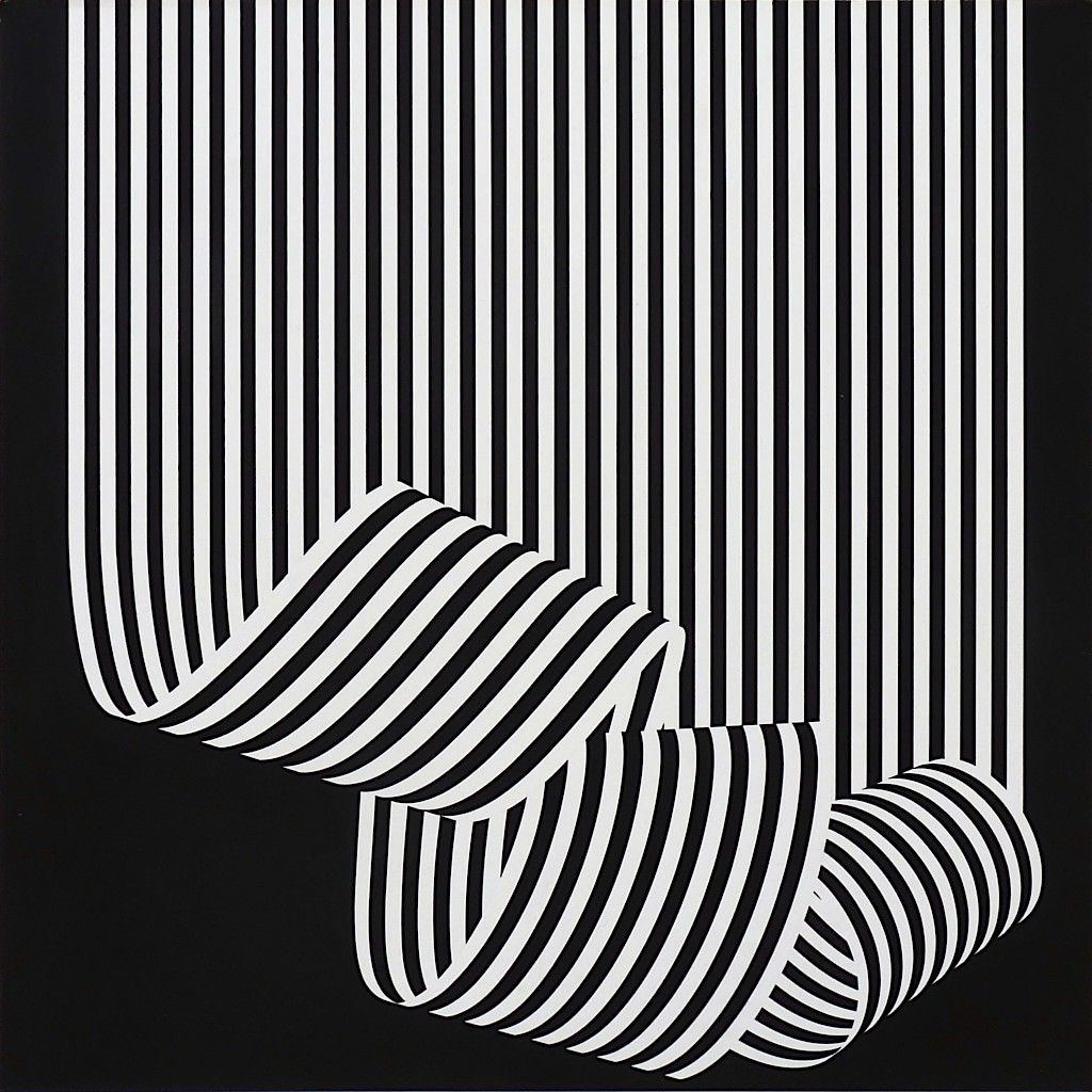 Franco Grignani art, black and white stripes hanging