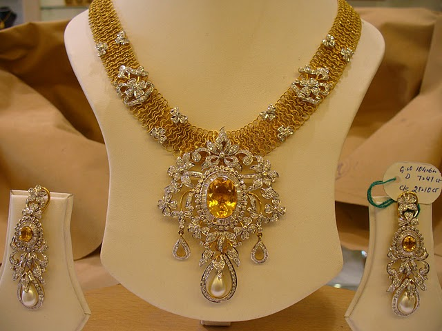 Indian Bridal Diamond Necklace Set With Citrines