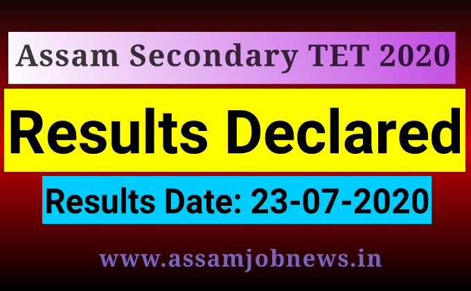Assam, Secondary TET (Re-evaluation) Result 2020