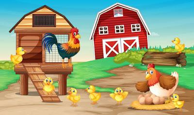 La gallina y sus pollitos bonitos en la granja