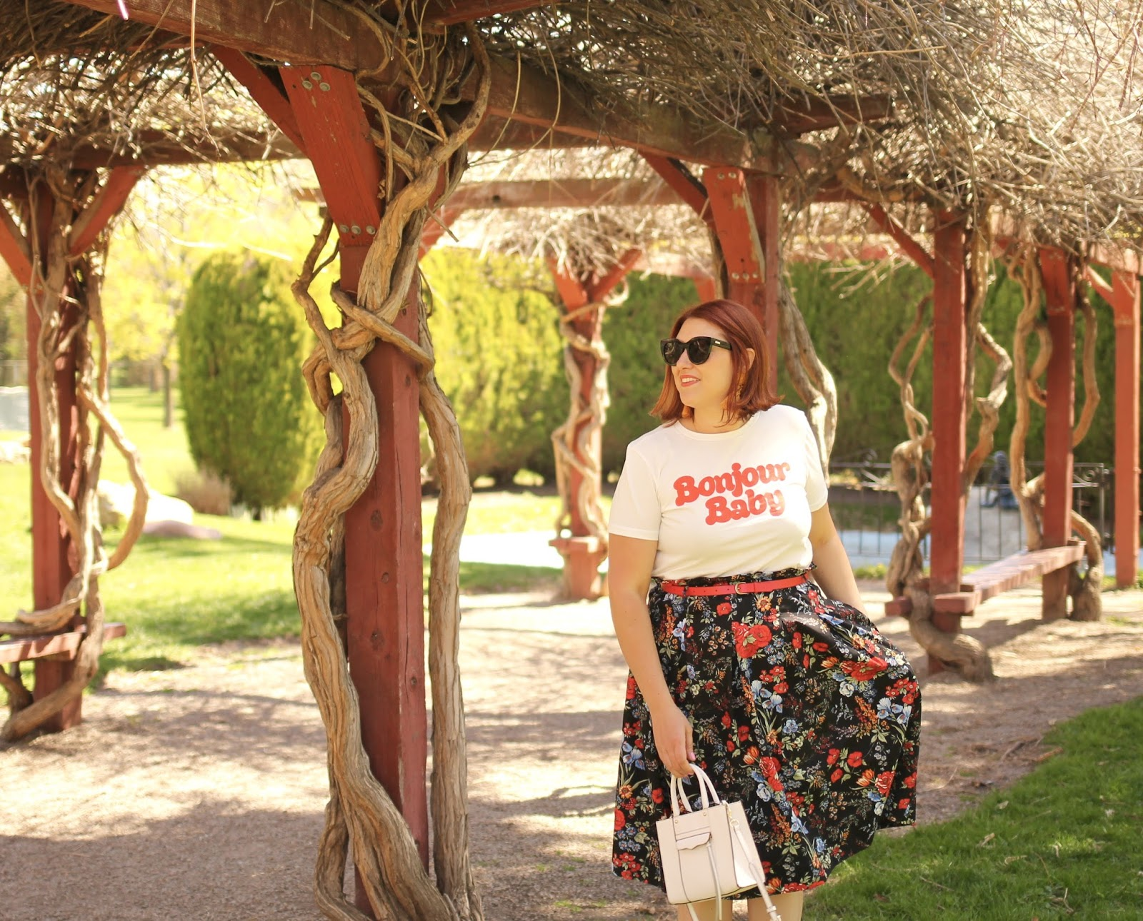 Floral midid skirt, paper bag skirt, red hair bob, graphic tee,  red flats, international peace gardens, rebecca Minkoff mini mab tote
