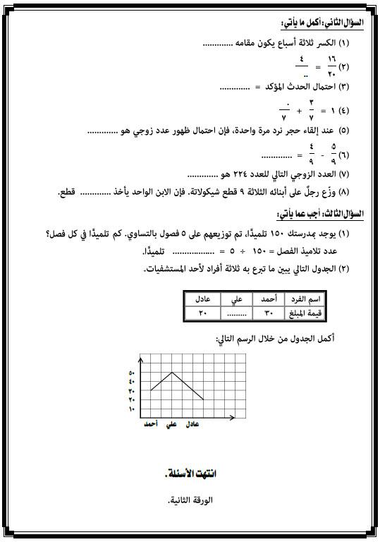 امتحان نصف الترم فى الرياضيات الصف الثالث الابتدائى الفصل الدراسى الثانى