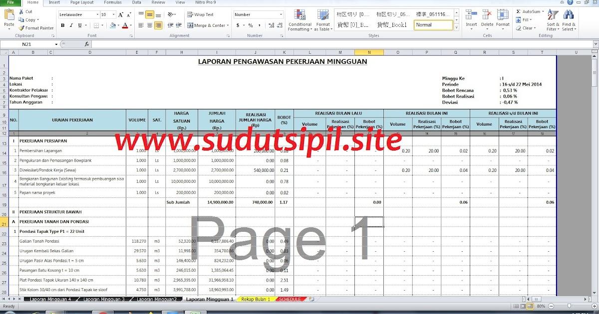 Tutorial Membuat Laporan Pengawasan Proyek Sofcopy File Gratis Sudut Sipil