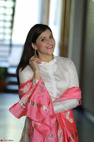 Mannara Chopra in Silky White Salwar Suit with Pink Chunni Latest Exclusive Pics March 2017 ~  054.JPG