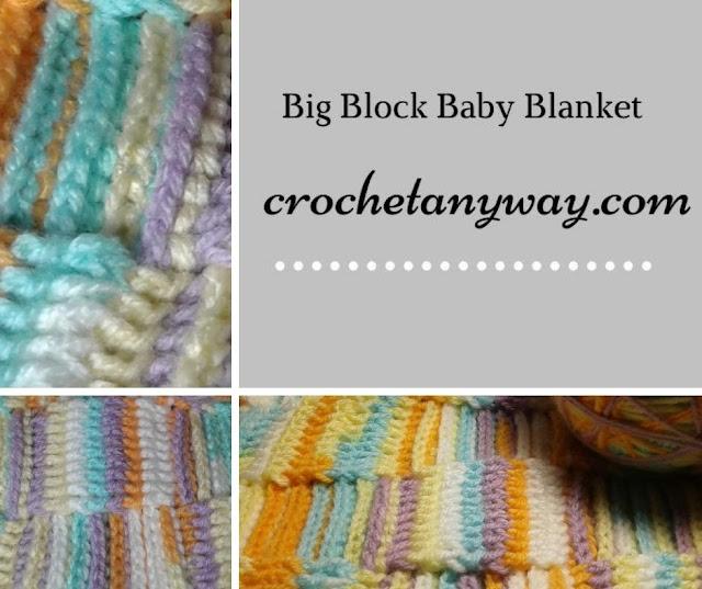 big block baby blanket using ice cream yarn banana split color