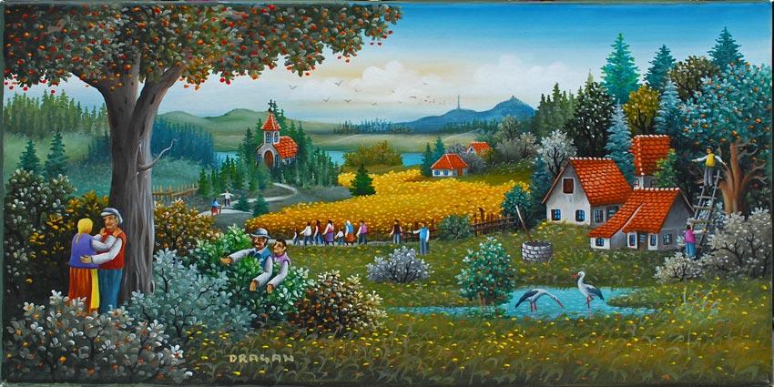 Dragan mihailovic serbian naive art info for Sfondi naif