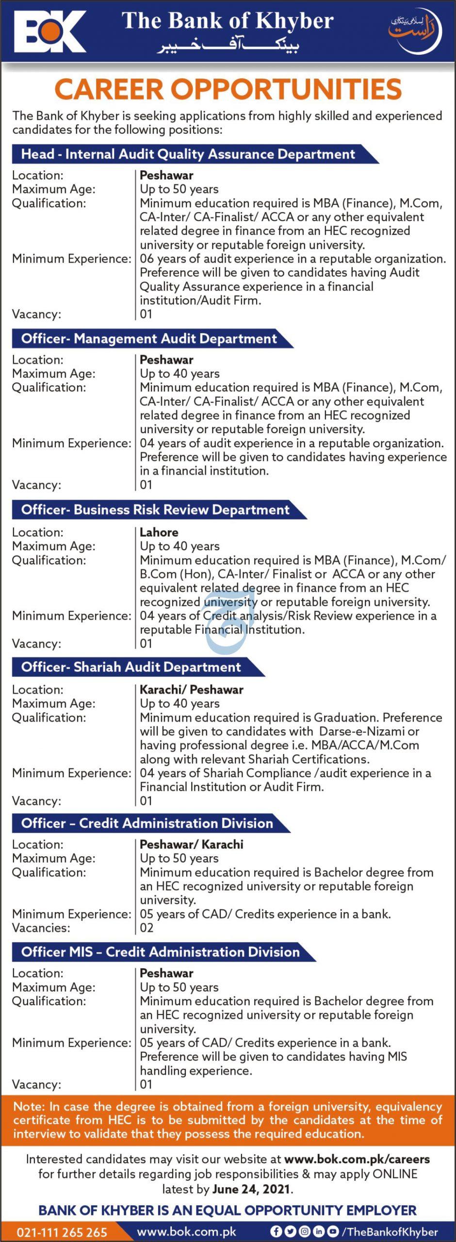 Bank of Khyber BOK Jobs 2021 in Pakistan - Apply Online via www.bok.com.pk
