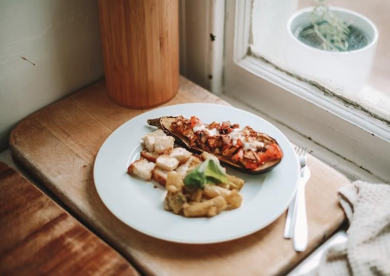 Rêveuse Recipe: Baked Aubergine, Croutons & Pesto Pasta