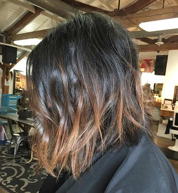 Light brown lowlights on dark hair