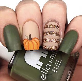 uñas halloween calabaza verde
