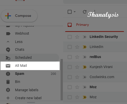 Select All Mail tab from left panel to find the archived emails in Gmail