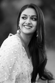 Keerthy Suresh in White Dress with Cute Smile in Sarkar Promotions