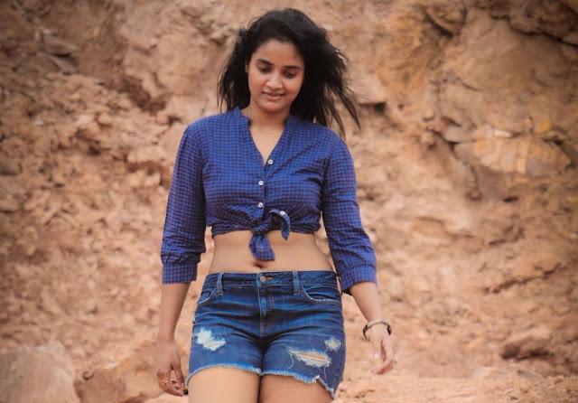 Soumya Shetty Hot Navel Show Photo Stills in Short Jeans and Blue Shirt Navel Queens