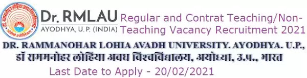 RMLAU Ayodhya Faculty Non-Teaching Vacancy Recruitment 2021