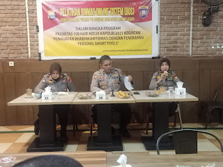 Tingkatkan Pelayanan, Satbinmas Polres Pelabuhan Makassar gelar Pelatihan Binmas Online System (BOS)