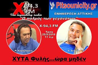 Α. Δεωνάς και Ν. Καραμπάσης στον X-FM 94,3 μιλάνε για την Τοπική Αυτοδιοίκηση και την «περιβαλλοντική βόμβα» που είναι έτοιμη να εκραγεί στο ΧΥΤΑ της Φυλής.