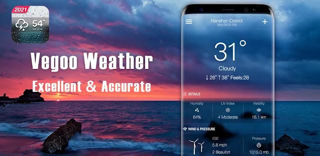 توقعات الطقس فيجو بريميوم Vegoo Weather Forecast هو تطبيق دقيق وكامل الميزات للتنبؤ بأحوال الطقس والأرصاد الجوية لنظام Android