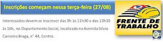 Inscrições para Frente de Trabalho começam nessa terça-feira (27/08) em Jacupiranga
