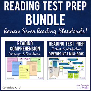 Use these materials and my plan for a focused review with your middle school students for your state's reading test!  #strategies # ideas #testprep