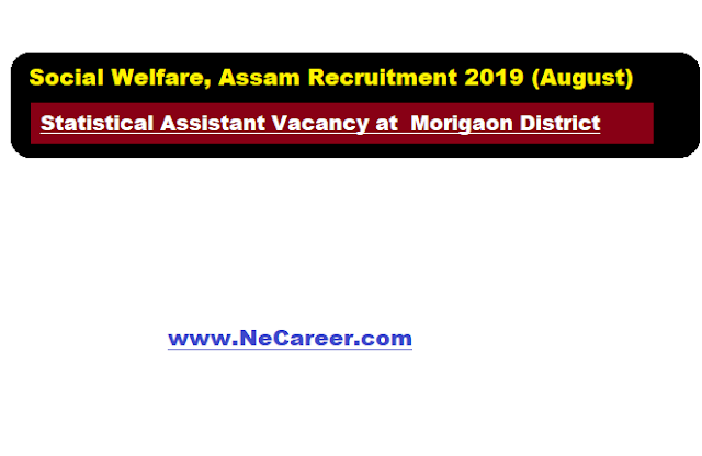 Social Welfare, Assam Recruitment 2019 (August) | Statistical Assistant Vacancy at  Morigaon District