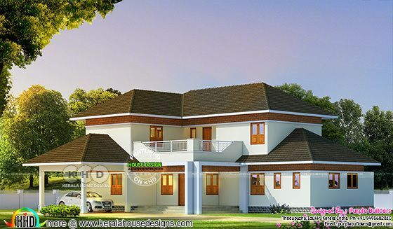 2580 square feet sloping roof house with 4BHK