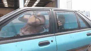 Amigos llenaron su carro con agua y lo convirtieron en una pecera rodante