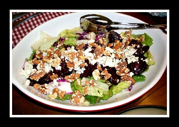 Roasted Beets and Blue Cheese over Mixed Greens