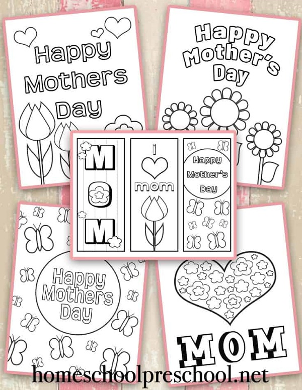 Happy Mothers Day free colouring in printable designs for mom.
